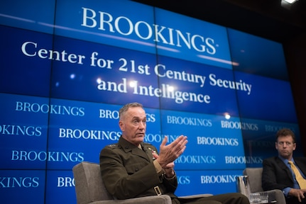 Gen. Joseph Dunford spoke at the Brookings Institute Feb. 23, 2017 on national security threats. (DoD photo by D. Myles Cullen)