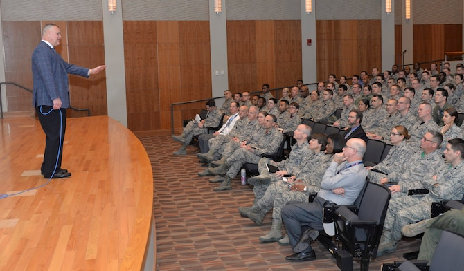 Retired Chief Master Sgt. of the Air Force James A. Roy speaks to employees of the National Air and Space Intelligence Center during a visit to Wright-Patterson Air Force Base, Ohio, Feb. 3, 2017. While here, Roy discussed major Air Force issues he's worked on both in and out of service, and answered questions from the crowd.  (U.S. Air Force photo by Senior Airman Samuel Earick)