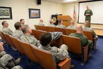 U.S. Air Force Lt. Gen. R. Scott Williams, Commander, CONUS NORAD Region, speaks to unit members after presenting Commander's coins to them at the 177th Fighter Wing of the New Jersey Air National Guard, Atlantic City Air National Guard Base, N.J. on Feb. 16, 2017.  (U.S. Air Force photo by Master Sgt. Andrew J. Moseley/Released)