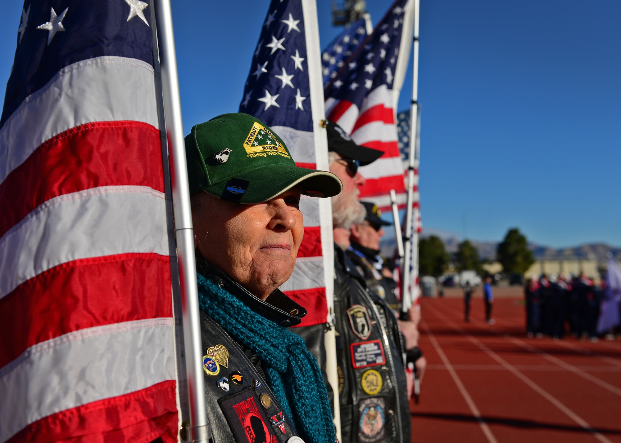 A member of the Patriot Guard Riders welcomes competitors of the 2017 Air Force Warrior Game Trials outside the Warrior Fitness Center Feb. 24, 2017 at Nellis Air Force Base, Nev. These trials are part of an adaptive sports program, headed by the Wounded Warrior Program, designed to promote the mental and physical wellbeing of seriously wounded, ill and injured military members and veterans. (U.S. Air Force photo by Senior Airman Chip Pons)