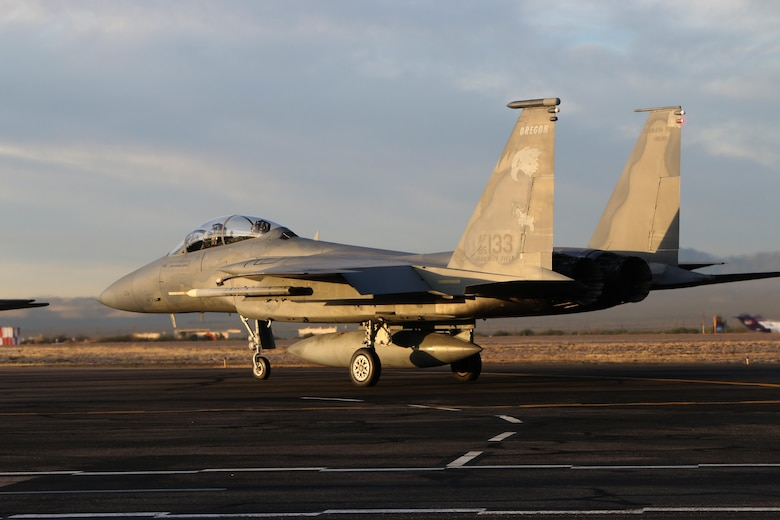 A U.S. Air Force F-15 Eagle from the 173rd Fighter Wing, Oregon Air National Guard, taxis to the runway  in preperation for a training flight at Tucson, Arizona January 12, 2017.  The 173rd Fighter Wing spent two weeks training with the 162nd Wing, Airzona Air National Guard, flying dissimilar air combat training with their F-16s.  (U.S. Air National Guard photo by Master Sgt. Jennifer Shirar)
