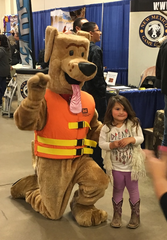 Bobber the Water Safety Dog made an appearance at the New Mexico Outdoor Adventures Hunting & Fishing show, Feb. 19, 2017, where he promoted water safety and posed for photos with attendees.