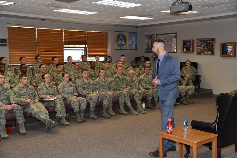 Retired Explosive Ordnance Disposal technician, Senior Master Sgt. Paul Horton, addresses Airman Leadership School students at F.E. Warren Air Force Base. Wyo., Feb. 17, 2017. Horton discussed his experiences while deployed and the importance of finding and living your purpose. He was invited to be the guest speaker at the 90th Missile Wing Annual Awards ceremony on Feb. 18, 2017. (U.S. Air Force photo by Glenn Robertson)