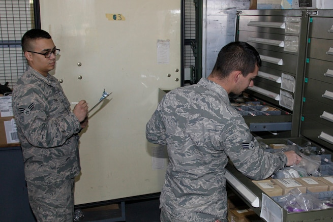 170223-Z-NQ307-022 -- Senior Airman Ruggirello and Senior Airman Jordan Staub, Logistics Management Specialists with Michigan Air National Guard's 127th Logistics Readiness Squadron, conduct a parts inventory at Selfridge Air National Guard Base, Mich. On February 23rd, 2017. The 127th LRS is responsible for the movement of parts for the 127th Wings two airframes, the A-10 Thunderbolt II and KC-135 Stratotanker as well as other supplies and parts needed by the wing. (U.S. Air National Guard Photo by TSgt. Rachel Barton)