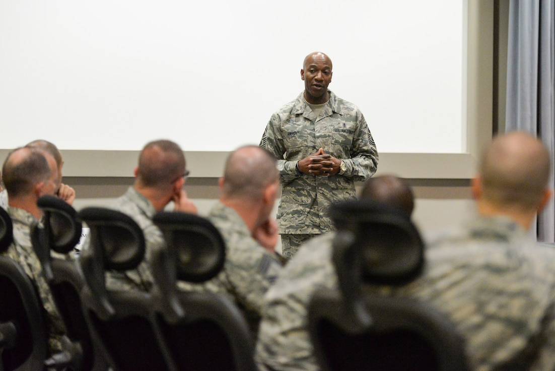 Chief Master Sgt. of the Air Force Kaleth O. Wright addresses a group of chiefs from around Air Force Materiel Command during AFMC's Chiefs Orientation Course at Wright-Patterson Air Force Base, Ohio, Feb. 24, 2017. During his time with the chiefs, Wright addressed some of his priorities as CMSAF, such as the importance of developing leaders and training.  (U.S. Air Force photo by Wesley Farnsworth)