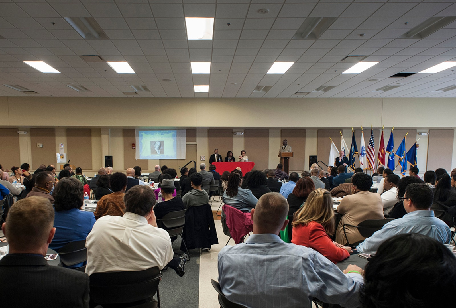"""The Defense Federal Community hosted a panel discussion Feb. 22 at the Armed Forces Reserve Center at Defense Supply Center Columbus as part of the installation's recognition of African American Heritage/Black History Month. The panel brought together community leaders to discuss the """"Crisis in Black Education."""""""