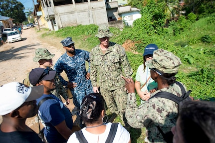 TRUJILLO, Honduras (Feb. 24, 2017) – Sailors discuss mosquito habits with host nation residents during a preventative medicine site visit in support of Continuing Promise 2017's (CP-17) stop in Trujillo, Honduras. CP-17 is a U.S. Southern Command-sponsored and U.S. Naval Forces Southern Command/U.S. 4th Fleet-conducted deployment to conduct civil-military operations including humanitarian assistance, training engagements, and medical, dental, and veterinary support in an effort to show U.S. support and commitment to Central and South America. (U.S. Navy photo by Mass Communication Specialist 2nd Class Shamira Purifoy)
