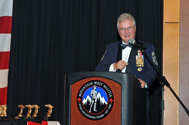 Retired Chief Master Sergeant of the Air Force Gerald R. Murray addresses an audience of nearly 230 military and civilian personnel at the 2016 Airman of the Year awards banquet held at the Utah Cultural Center in West Valley, Utah on Jan. 21, 2017. (U.S. Air National Guard photo by Tech. Sgt. Annie Edwards)