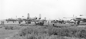B-25 aircraft from the 81st Bombardment Squadron prepare to take off on a bombing mission over enemy installations. (Courtesy Photo)