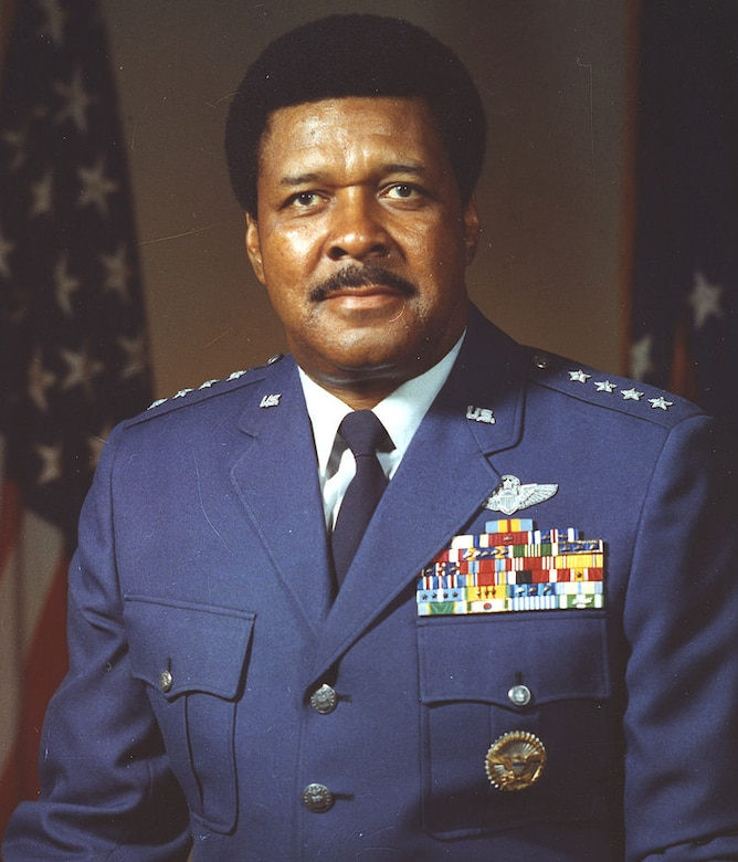 """General Daniel """"Chappie"""" James, Jr., former special assistant to the chief of staff, U.S. Air Force, attended the Tuskegee Institute from September 1937 to March 1942, where he received a Bachelor of Science in physical education and completed civilian pilot training under the government-sponsored Civilian Pilot Training Program. James also worked as a civilian instructor pilot at Tuskegee in the Army Air Corps Aviation Cadet Program until January 1943."""