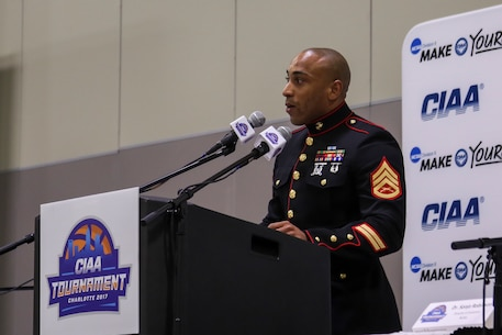 Staff Sgt. Eric Rogers, a recruiter with recruiting substation Rockhill, Recruiting Station Columbia, welcomes attendants of the Central Intercollegiate Athletic Association (CIAA) Education Day at the Charlotte Convention Center on Feb. 22, 2017. The Marines take part in the Education Day at the CIAA to help spread awareness and inform others of the opportunities the Marine Corps can provide. The Education Day assists recruiters by offering them different tools to reach students across the state. (U.S. Marine Corps photo by Lance Cpl. Jack A. E. Rigsby/Released)