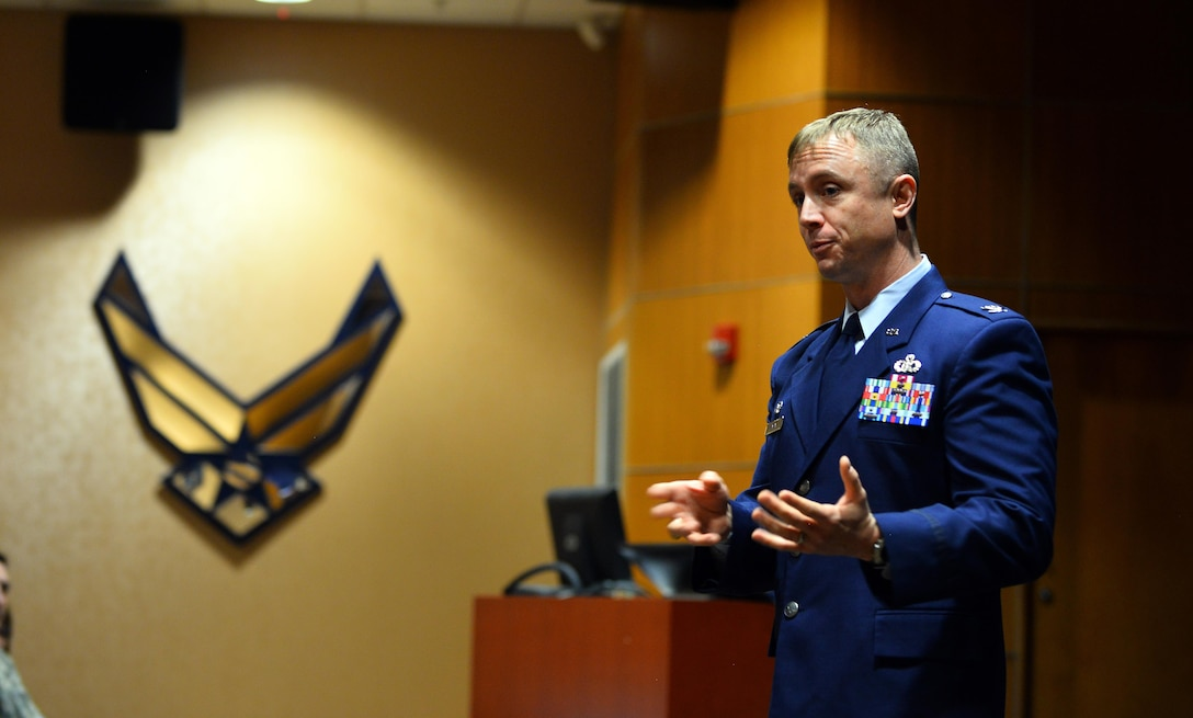 Col. Jason E. Patla, 2d Weather Group commander, speaks to guests at the formal 2d Weather Support Squadron activation ceremony held at the 557th Weather Wing Headquarters, Neb., Feb. 17, 2017. The newly-formed squadron will align under the 2d WXG. (U.S. Air Force photo by Josh Plueger)