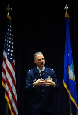 Lt. Col. Hugh J. Freestrom, 2d Weather Support Squadron commander, provides remarks following his assumption of command at the 557th Weather Wing headquarters, Neb., Feb. 17, 2017. Freestrom is the first commander of the 2d WSS as it was activated from a Detachment 1 to a squadron. (U.S. Air Force photo by Josh Plueger)