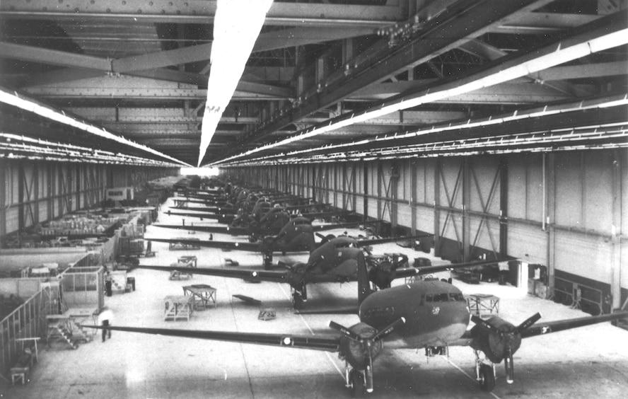 C-47 line in OKC Douglas Plant, Bldg. 3001 in 1943. (Photo courtesy of Tinker History Office)