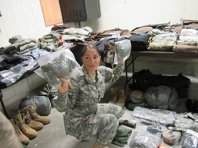 Army Reserve Staff Sgt. Arin R. Kinsella from the 380th Quartermaster Battalion headquartered in Evansville, Ind., 38th Regional Support Group, 310th Sustainment Command (Expeditionary), participates in the equipment list layout inventory and inspection while competing in the 310th ESC's 2017 Best Warrior Competition, held at Ft. A.P. Hill, Va., Feb. 23 - 28. The annual six day competition tests enlisted Soldiers and noncommissioned officers in their ability to perform Army Warrior tasks in a variety of events leading to the 377th Theater Support Command's BWC, which is a feed to the U.S. Army Reserve Command Best Warrior. (U.S. Army photo by Spc. Nicole R. Cabanellas)