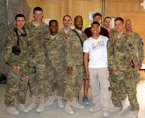 Staff Sgt. Jason Strong, second from right, attends the first LGBTQ+ event in the CENTCOM Area of Responsibility while deployed to Kandahar, Afghanistan, in June 2013. Directly to the left of him is John Phommavongsa, a contractor who would eventually help Strong facilitate the transfer of a year's worth of school supplies for 500 girls to the Zabuli Education Center, a girls' school just outside of Kabul, Afghanistan, in September 2016.