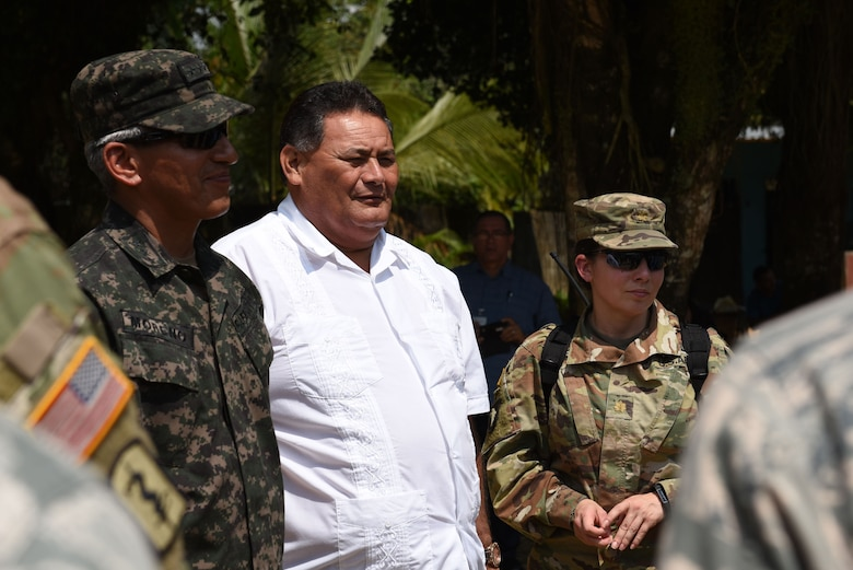 Col. Tito Livio Moreno, Commander of the Honduran 105th Infantry Brigade (left), Mr. Ricardo Alvarado Mayor of Omoa (center) and U.S. Army Maj. Rosemary Reed, Deputy Commander of Joint Task Force-Bravo Civil Military Operations, tour the facilities where a Medical Readiness Training Exercise is taking place in Corinto, Cortes, Feb. 16, 2017. The MEDRETE included participation from JTF-Bravo personnel, Honduran Ministry of Health providers, Red Cross volunteers and local military. (U.S. Army photo by Maria Pinel)