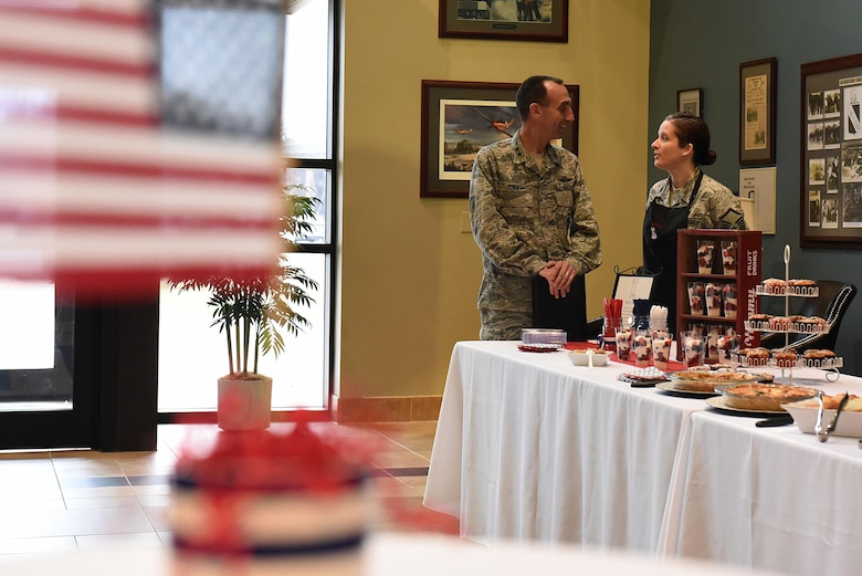 U.S. Air Force Maj. Gen. Scott Zobrist (left), 9th Air Force commander, talks with Master Sgt. Katie Neeley, 4th Aerospace Medicine Squadron superintendent, at Seymour Johnson Air Force Base, N.C., Feb. 15, 2017. Neeley and other members of the Make It Better culinary club showcased their cooking skills by preparing breakfast for Zobrist and approximately 20 other wing leaders and their spouses during his visit. (U.S. Air Force photo by Airman 1st Class Kenneth Boyton)