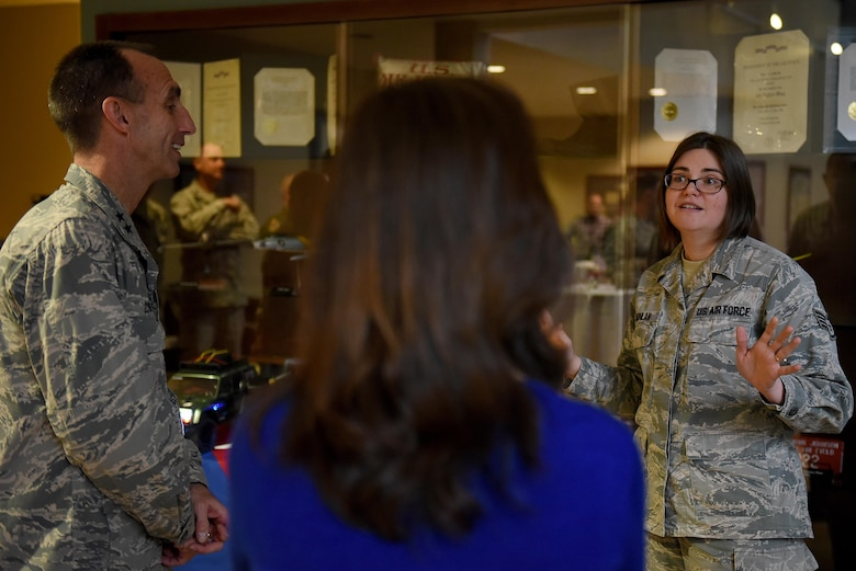 U.S. Air Force Maj. Gen. Scott Zobrist (left), 9th Air Force commander, discusses the Make It Better book club with Staff Sgt. Catherine Quinlan (right), 4th Force Support Squadron manpower analyst at Seymour Johnson Air Force Base, N.C., Feb. 15, 2017. Quinlan is the president of the book club which has more than 100 members. (U.S. Air Force photo by Airman 1st Class Kenneth Boyton)