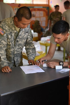 U.S. Army Capt. Can Lao (left), Joint Task Force-Bravo Chief of Pharmacy, checks prescriptions before dispensing to patients during a Medical Readiness Training Exercise in Corinto, Cortes, Feb. 17, 2017.  The medical mission took place in a local school where personnel set up to provide preventive medicine, basic medical attention, dental services and medication to the population of Corinto. (U.S. Army photo by Maria Pinel)