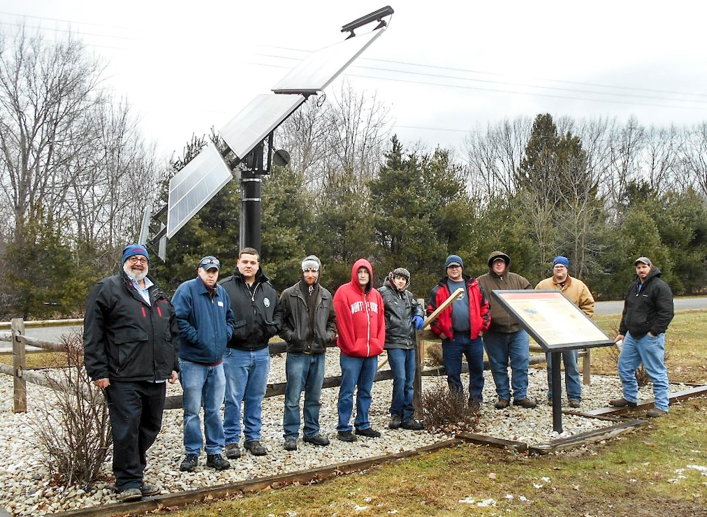 Nine students and an instructor from the New Castle School of Trades Maintenance Technology visited Shenango Lake to learn about the 2kW Solar Tracker in the Shenango Recreation Area, Jan. 27.  