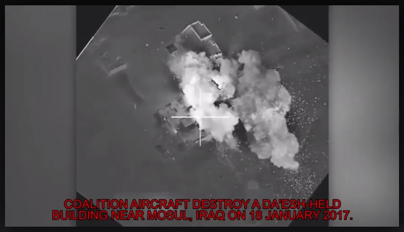 Coalition aircraft destroy a Da'esh-held building during a strike near Mosul, Iraq on 18 Jan. This strike was just a small part of the impact that the Targeting Team makes in order to support the ISF maneuver plan. (Photo Credit: (Courtesy photo))
