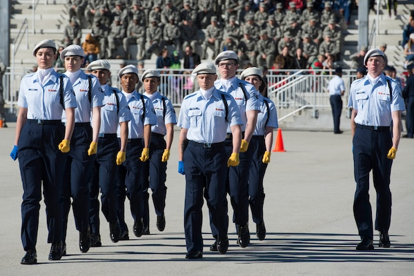Members of the 59th Training Group drill team perform drill movements in the regulation round of the 37th Training Wing Drill Down Invitational at the Pfingston Reception Center at Joint Base San Antonio-Lackland, Texas, Feb. 25, 2017. The 59th TRG took first place for the second consecutive year in the competition.