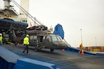 Eight UH-60 Black Hawk helicopters and more than 70 other pieces of equipment from the 10th Combat Aviation Brigade, based at Fort Drum, N.Y., arrived at the Port of Thessaloniki, Greece, Feb. 25, 2017, as part of a rotational force supporting Operation Atlantic Resolve. Army photo by Spc. Kelsey Little