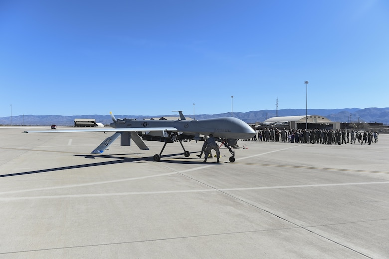 An MQ-1 Predator parks after its final flight Feb. 27, 2017 at Holloman Air Force N.M. The MQ-1 Predator is a multi-mission, medium-altitude, long-endurance remotely piloted aircraft that is employed primarily as an intelligence-collection asset and secondarily against dynamic execution targets. (U.S. Air Force Photo by Staff Sgt. Stacy Jonsgaard)