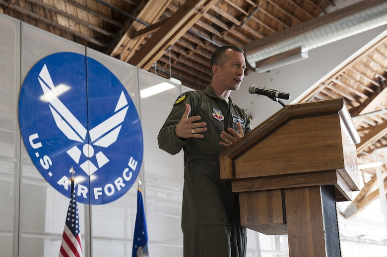 Col. Houston R. Cantwell, the 49th Wing Commander, speaks about the MQ-1 Predator during a ceremony at Holloman Air Force Base, N.M., Feb. 27, 2017. The MQ-1 Predator has provided many years of service and is being phased out of service as the Air Force transitions to the more capable MQ-9 Reaper. The MQ-1 Predator is an armed, multi-mission, medium-altitude, long-endurance remotely piloted aircraft that is employed primarily as an intelligence-collection asset and secondarily against dynamic execution targets. (U.S. Air Force photo by Airman Ilyana A. Escalona)