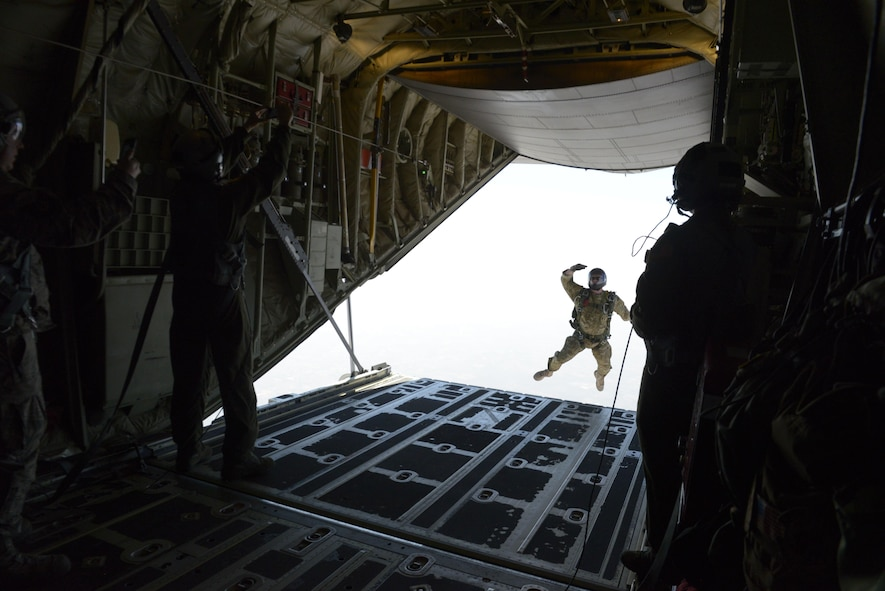A U.S. Air Force combat controller from the 353rd Special Operations Group, Kadena Air Base, Japan exits a U.S. Air Force C-130J Super Hercules during a freefall jump with India Special Forces paratroopers during Aero India 2017 at Air Force Station Yelahanka, Bengaluru, India, Feb. 16, 2017. Jumpers from the two countries shared best practices and combined into jump teams, to the delight of the crowd. The U.S. participates in air shows and other regional events to demonstrate its commitment to the security of the Indo-Asia-Pacific region, promote the standardization and interoåperability of equipment, and display capabilities critical to the success of current and future military operations.  (U.S. Air Force photo by Capt. Mark Lazane)