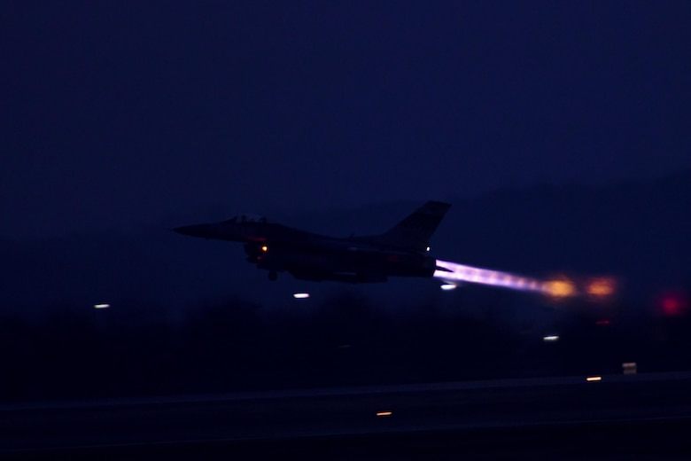 "An F-16 Fighting Falcon assigned to the 36th Fighter Squadron takes off on a training mission during Exercise Beverly Herd 17-1 at Osan Air Base, Republic of Korea, Feb. 28, 2017. Beverly Herd provides ample training opportunities for Team Osan units to practice their ability to ""Fight Tonight"" in a realistic setting. (U.S. Air Force photo by Staff Sgt. Victor J. Caputo)"