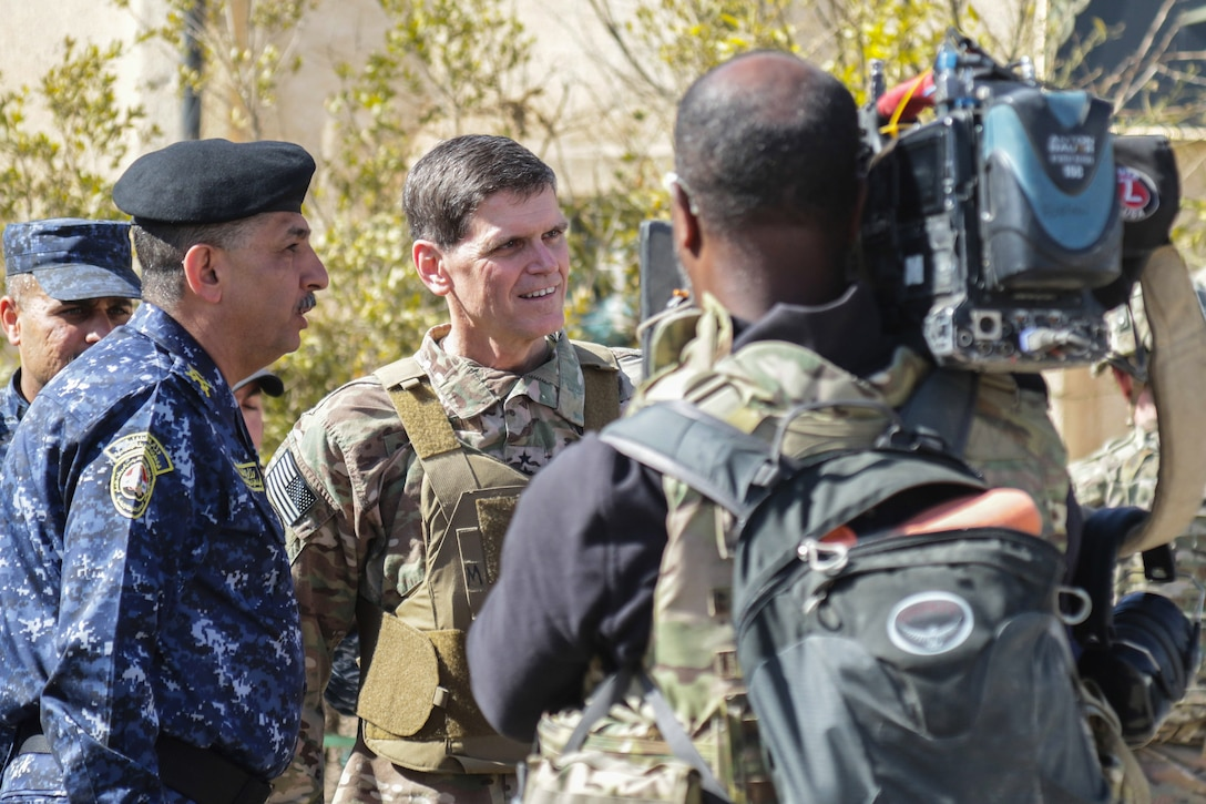 U.S. Army Gen. Joseph Votel, commanding general of U.S. Central Command, conducts an interview with media during a visit at Hamam al-Alil, Iraq, Feb. 25, 2017. Combined Joint Task Force-Operation Inherent Resolve is the global Coalition to defeat ISIS in Iraq and Syria. (U.S. Army photo by Staff Sgt. Jason Hull)
