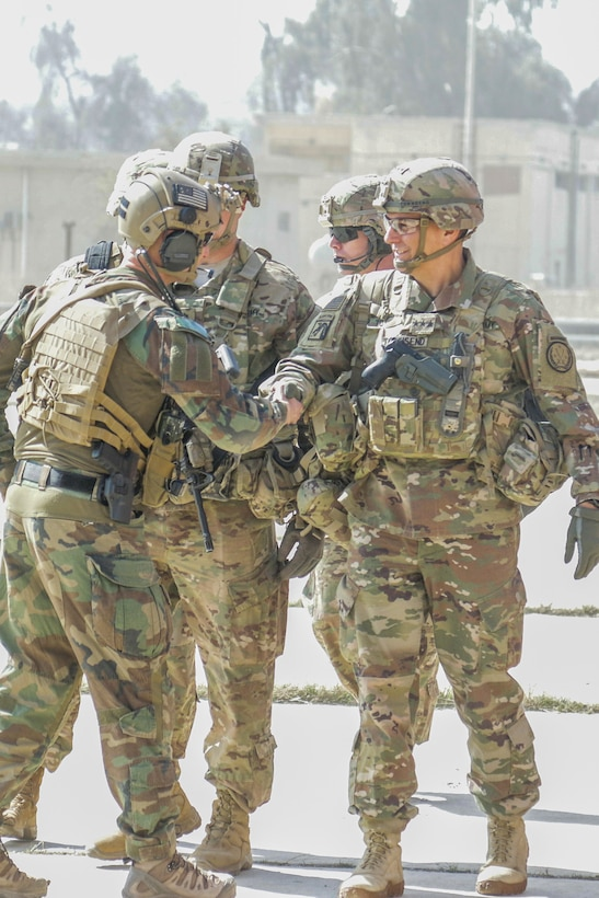 U.S. Army Lt. Gen. Stephen Townsend, right, commanding general, Combined Joint Task Force-Operation Inherent Resolve and XVIII Airborne Corps, visits tactical assembly area Hamam al-Alil, Iraq, Feb. 22, 2017. Paratroopers of the 2nd Brigade Combat Team, 82nd Airborne Division, deployed in support of CJTF-OIR, moved a force into Hamam al-Alil to continue support to the Iraqi federal police during the offensive to liberate West Mosul. The Falcon Brigade enables their Iraqi security forces partners through the advise and assist mission, contributing planning, intelligence collection and analysis, force protection, and precision fires to achieve the military defeat of ISIS. CJTF-OIR is the global Coalition to defeat ISIS in Iraq and Syria. (U.S. Army photo by Staff Sgt. Jason Hull)