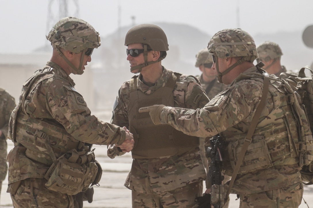 U.S. Army Gen. Joseph Votel, commanding general of U.S. Central Command, (center) greets Lt. Col. John Hawbaker, commander of 1st Squadron, 73rd Cavalry Regiment, 2nd Brigade Combat Team, 82nd Airborne Division, during a visit at Hamam al-Alil, Iraq, Feb. 25, 2017. The 2nd BCT, 82nd Abn. Div., deployed in support of Combined Joint Task Force-Operation Inherent Resolve, enables their Iraqi security forces partners through the advise and assist mission, contributing planning, intelligence collection and analysis, force protection, and precision fires to achieve the military defeat of ISIS.  CJTF-OIR is the global Coalition to defeat ISIS in Iraq and Syria. (U.S. Army photo by Staff Sgt. Jason Hull)