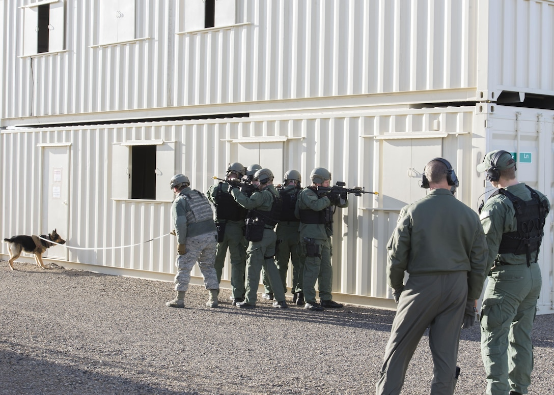The 366th Security Forces Emergency Services Team conducts a training demonstration for Lt. Gen. Mark Kelly, 12th Air Force (Air Forces Southern) Commander, Feb. 24, 2017, at Mountain Home Air Force Base, Idaho. Onlookers viewed EST members breaching several structures and a military working dog running down a fleeing enemy. (U.S. Air Force photo by Airman Jeremy D. Wolff/Released)
