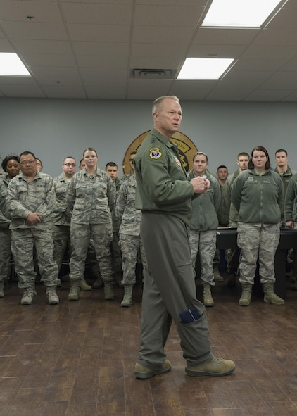 Lt. Gen. Mark Kelly, 12th Air Force (Air Forces Southern) Commander, addresses airmen at the 726th Air Control Squadron Feb. 23, 2017, at Mountain Home Air Force Base, Idaho. Kelly spent the morning touring the 726th ACS and seeing the everyday functions of the squadron. (U.S. Air Force photo by Airman Jeremy D. Wolff/Released)