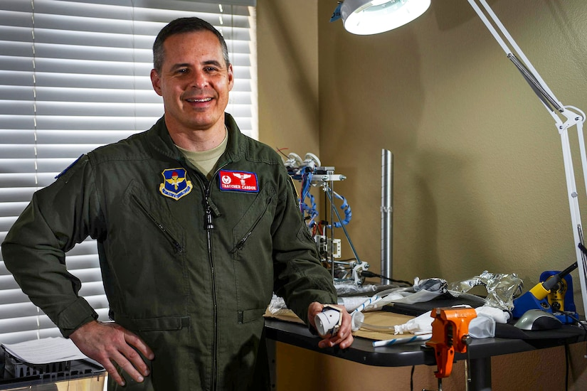 "Air Force Col. Thatcher Cardon, commander of the 47th Medical Group at Laughlin Air Force Base, Texas, won the National Aeronautics and Space Administration's Space Poop Challenge, beating more than 5,000 entries and winning $15,000. Cardon's invention, the ""perineal access port,"" allows astronauts to manage human waste in a space suit for up to six continuous days. Air Force photo by Airman 1st Class Benjamin N. Valmoja"