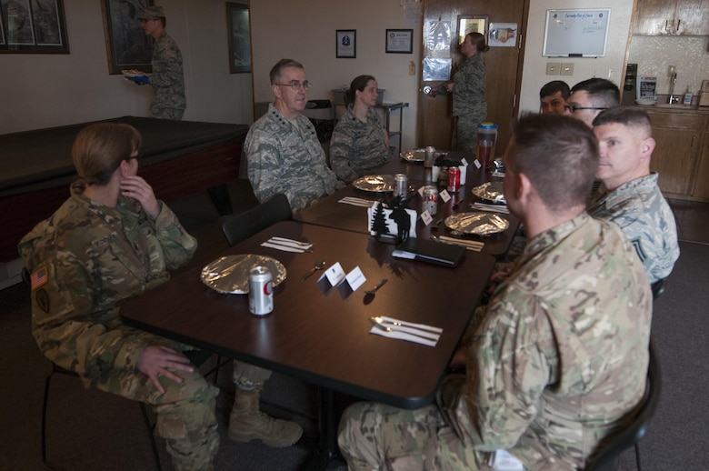 U.S. Air Force Gen. John E. Hyten, U.S. Strategic Command commander, speaks with Airmen at a missile alert facility on the F.E. Warren Air Force Base missile complex, Feb. 22, 2017. This was Hyten's first visit to the 90th Missile Wing as USSTRATCOM commander. (U.S. Air Force photo by Staff Sgt. Christopher Ruano)
