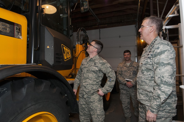 Staff Sgt. Corey Crim, 319th Missile Squadron missile alert facility manager, tours a MAF with U.S. Air Force Gen. John E. Hyten, U.S. Strategic Command commander, during a familiarization visit of the F.E. Warren Air Force Base missile complex, Feb. 22, 2017. The facility manager is in charge of maintaining the MAF and managing personnel who reside inside. This was Hyten's first visit to the 90th Missile Wing as USSTRATCOM commander. (U.S. Air Force photo by Staff Sgt. Christopher Ruano)