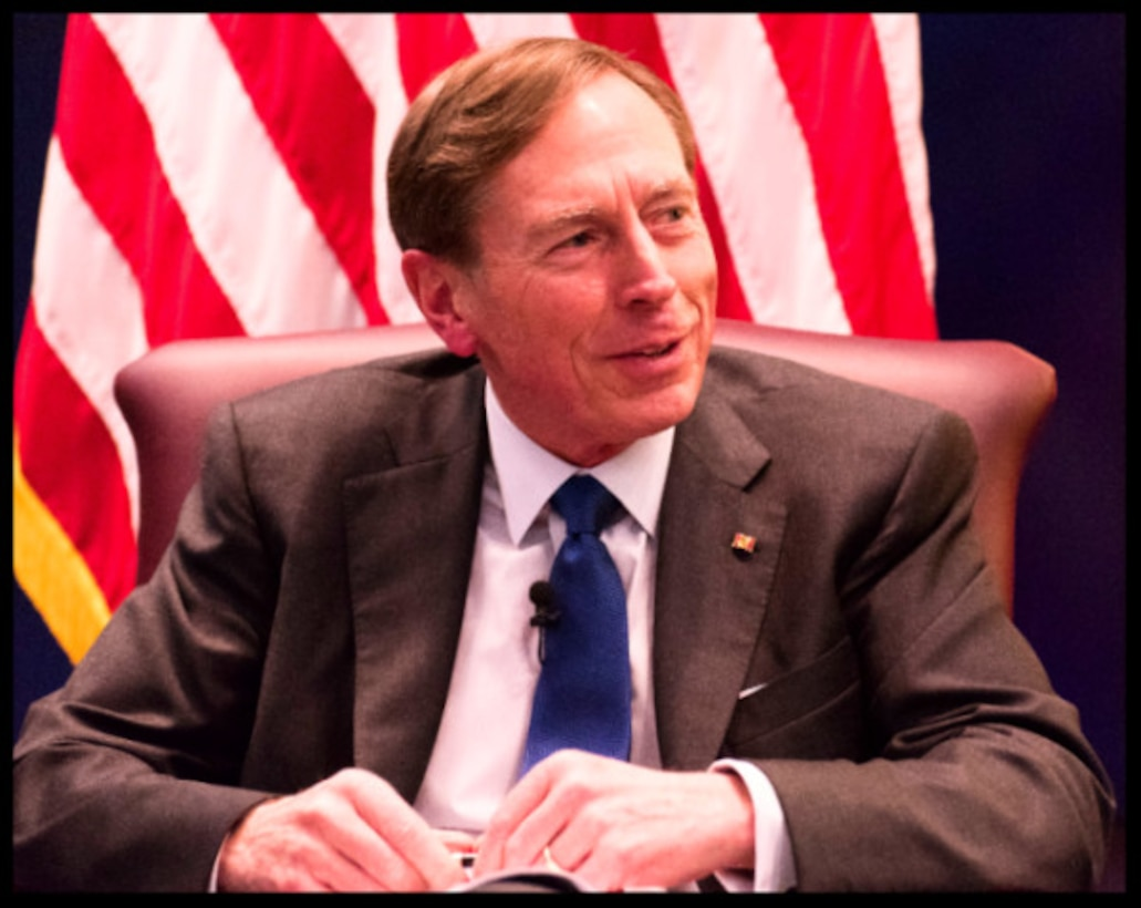 Petraeus spoke candidly on irregular war, large-scale conventional conflict, organizational architecture, and good management and oversight practices.