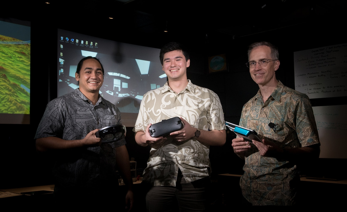 PEARL HARBOR-HICKAM (February 9, 2017) (left to right) John Paul McManus, Timothy Byers, and Christopher Bretz pose in the iLab at Naval Submarine Training Center Pacific Feb. 8, 2017.  The iLab is a initiative launched to spur the rapid development of ideas and concepts to actionable use in submarine warfare. (U.S. Navy photo by Mass Communication Specialist 1st Class Daniel Hinton)