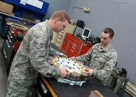 Staff Sgt. Jeremy Smith (left) and Airman 1st Class Nicholas Stuthard work on stacking a B-52 brake at a Hydraulics Centralized Repair Facility assigned to the 2nd Maintenance Squadron at Barksdale Air Force Base, La. Repair Network