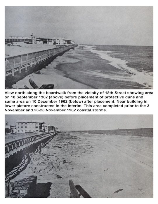 Original Caption from 1963 Report: View north along the boardwalk from the vicinity of 18th Street showing area on 18 September 1962 (above) before placement of protective dune and same area on 10 December 1962 (below) after placement. Near building in the lower picture constructed in the interim. This area completed prior to the 3 November and 26-28 November 1962 coastal storms.