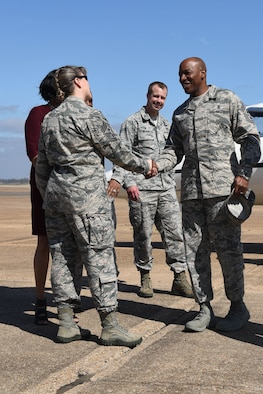 Chief Master Sgt. of the Air Force Kaleth O. Wrightmeets with Chief Master Sgt. Teresa Clapper, 2nd Bomb Wing command chief, as he arrives at Barksdale Air Force Base, La., Feb. 22, 2017. Wright became Chief Master Sergeant of the Air Force on February 17, 2017. (U.S. Air Force Photo/Airman 1st Class Stuart Bright)