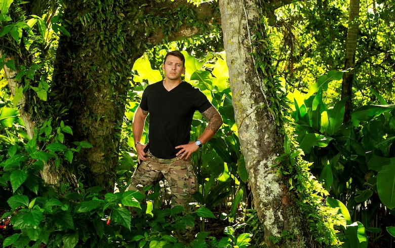 "Tech. Sgt. Ben Domian, a survival, evasion, resistance, and escape specialist with the 920th Rescue Wing, stars in a new reality show, ""Kicking and Screaming,"" set to air March 9 at 8 p.m. Central Standard Time on FOX network. The competition series teams 10 expert survivalists with pampered novices in a tropical jungle in Fiji to battle it out for a chance to win $500,000. (Photo by Jeff Neira courtesy of FOX Broadcasting company.)"