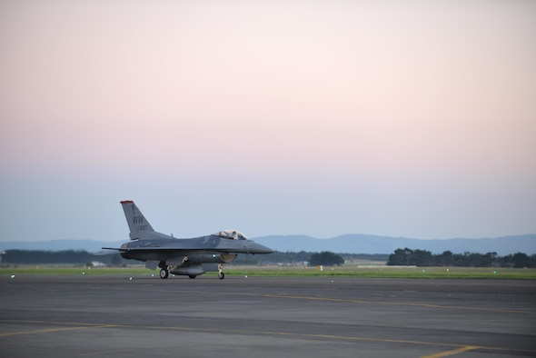 U.S. Air Force Capt. Mike Dreher, safety observer with the Pacific Air Forces demo team, taxis his aircraft after landing at Royal New Zealand Air Force Base Ohakea, New Zealand, Feb. 24, 2017. Misawa's F-16 Fighting Falcon demonstration team participated in the 2017 Air Tattoo held once every five years alongside members from the Royal Air Force, Royal Australian Air Force, Republic of Singapore Air Force and Royal New Zealand Air Force. (U.S. Air Force photo by Senior Airman Jarrod Vickers)