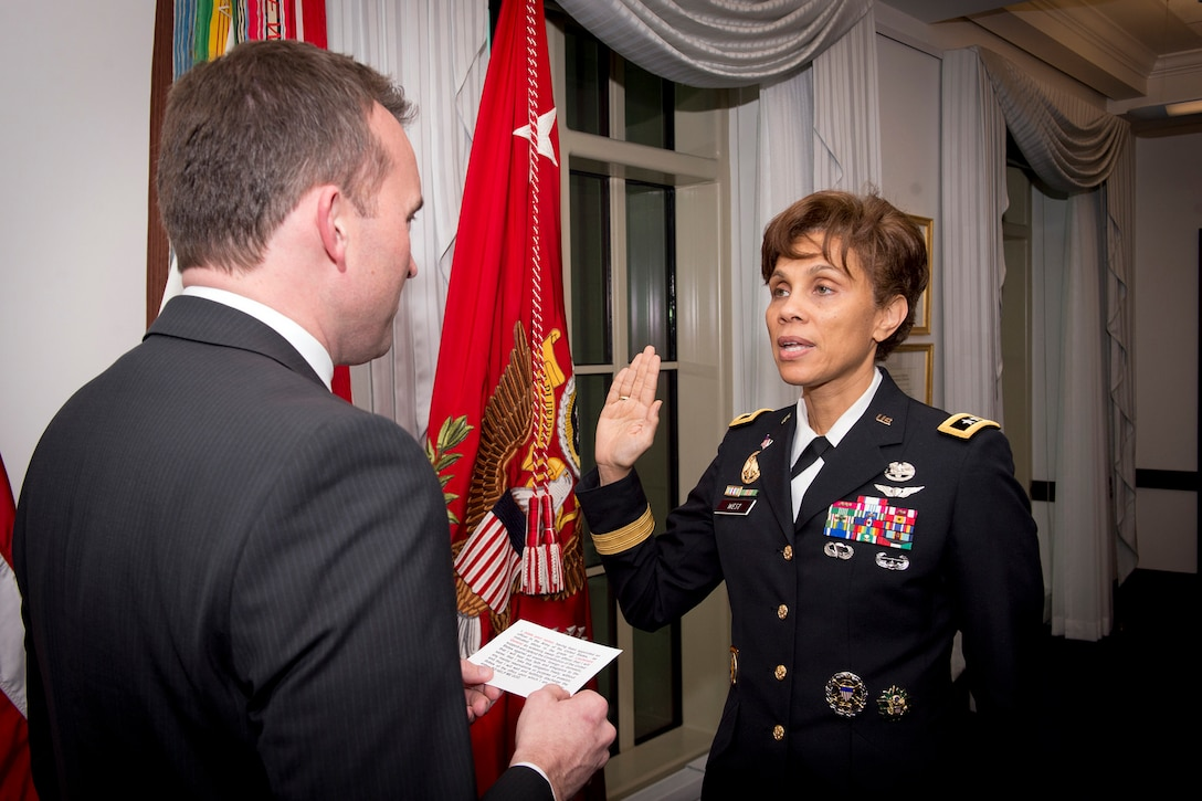 Army Maj. Gen. Nadja West is sworn in