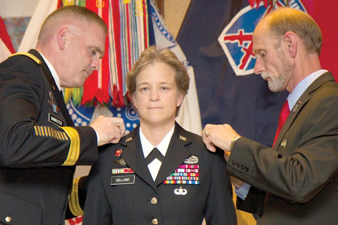 Army Brig. Gen. Diana Holland during her promotion ceremony to brigadier