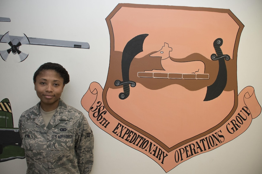 This week's Rock Solid Warrior is Senior Airman Danika Wynn, a 386th Expeditionary Operations Group administrator, deployed from the 355th Component Maintenance Squadron at Davis-Monthan Air Force Base, Arizona. (U.S. Air Force photo/Senior Airman Andrew Park)